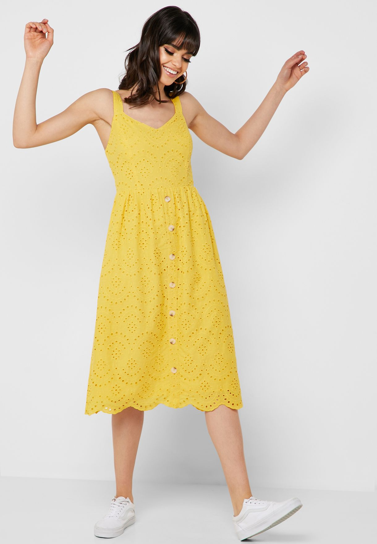 SL1428 Ex Chainstore Yellow Broderie Button Down Midi Dress x12