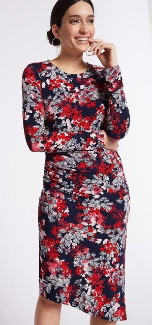 SL1172 Ex Chainstore Rose Red Mix Floral Bodycon Dress x17
