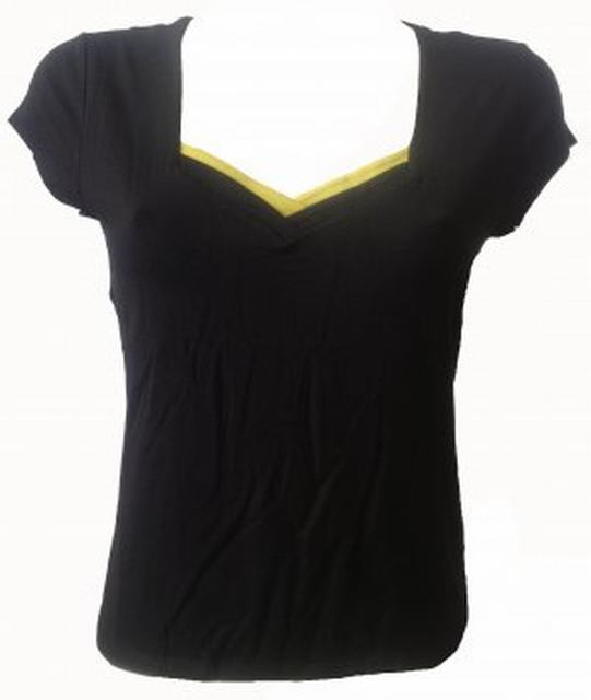 SL066 Ex UK Chainstore Black V-Neck Pleat Tee x8