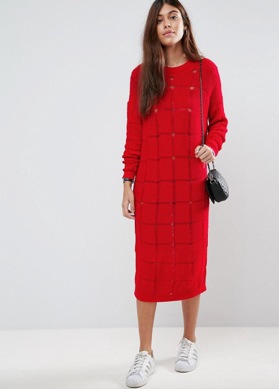SL1331 Ex Chainstore Jumper Dress In Ladder Stitch x7