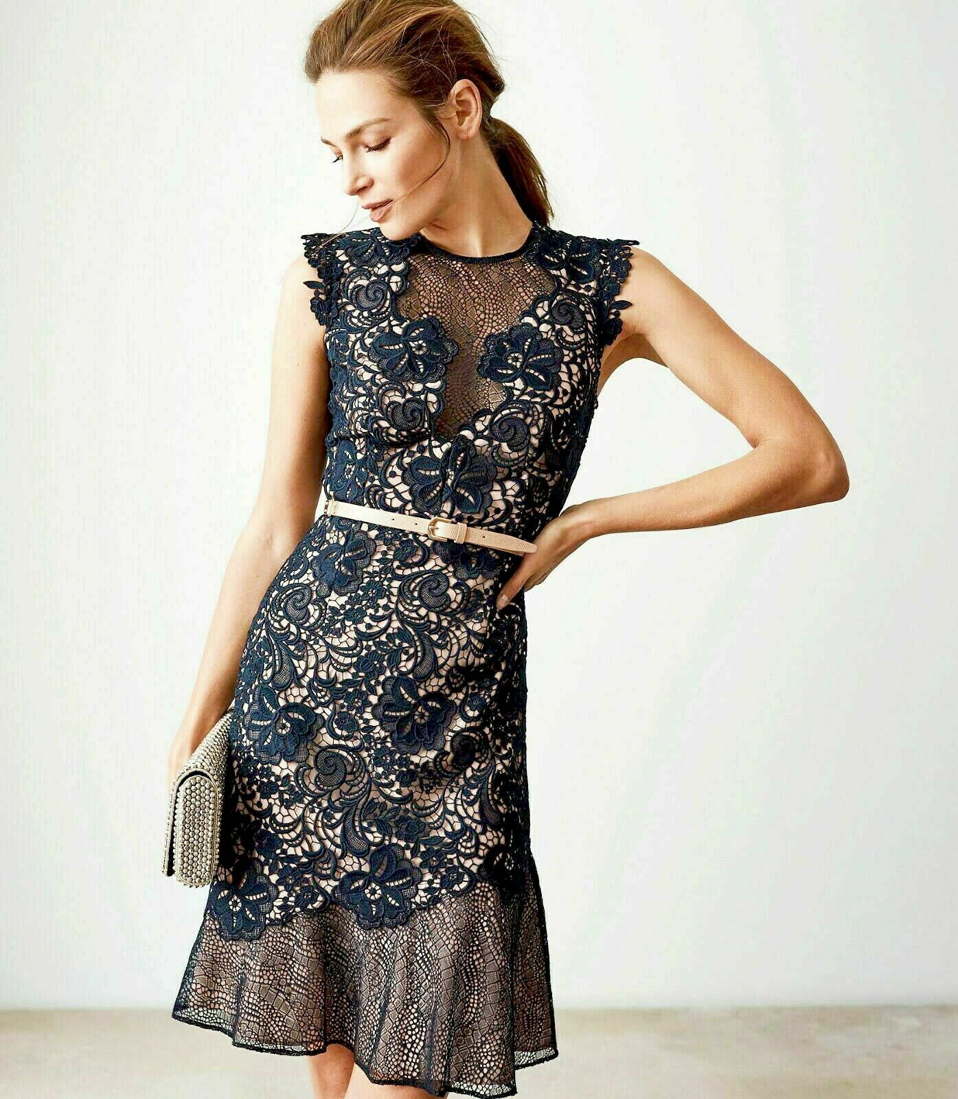 SL1417 Ex Chainstore June Navy Lace Floral Party Dress (x12)