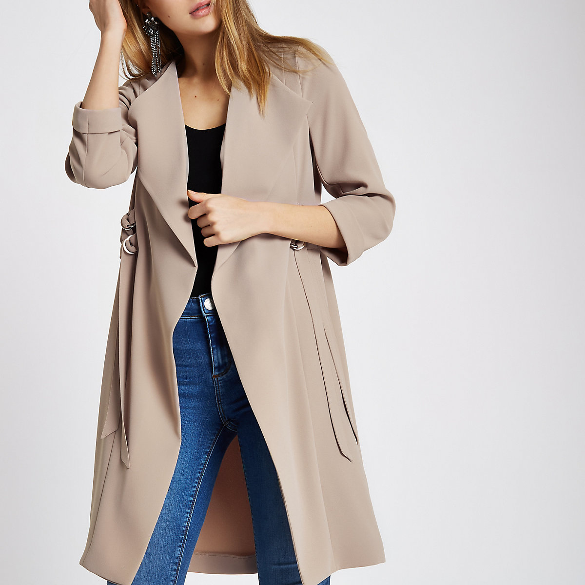 SL1433 Ex Chainstore Beige D Ring Strap Sides Duster Coat x10