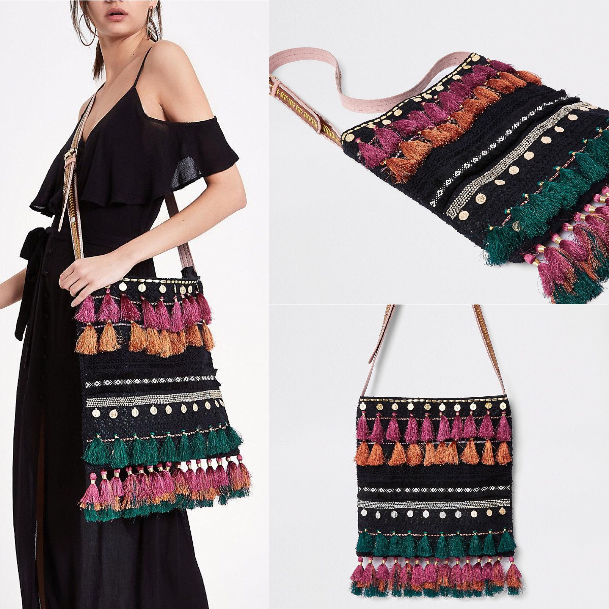 SL1424 Ex Chainstore Black Boho Tassel Crochet CrossBody Bag x10