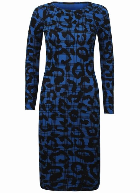 SL1254 Ex Chainstore Blue Printed Bodycon Dress x6