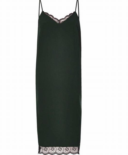 SL1213 Ex Chainstore Dark Green Lace Midi Slip Dress x13