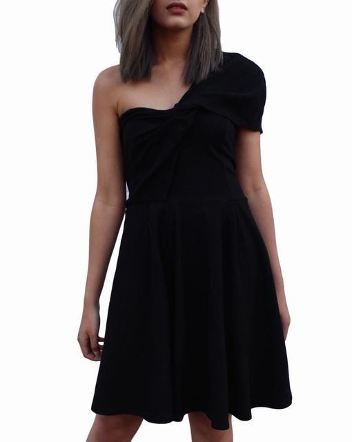 dddabcc04ed SL1227 Ex Chainstore One Shoulder Skater Dress - Black x12