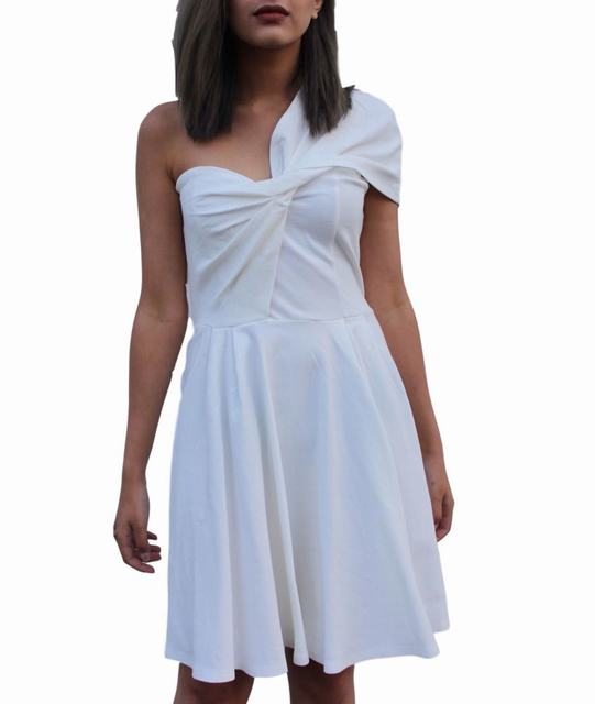 SL1226 Ex Chainstore One Shoulder Skater Dress - White x12