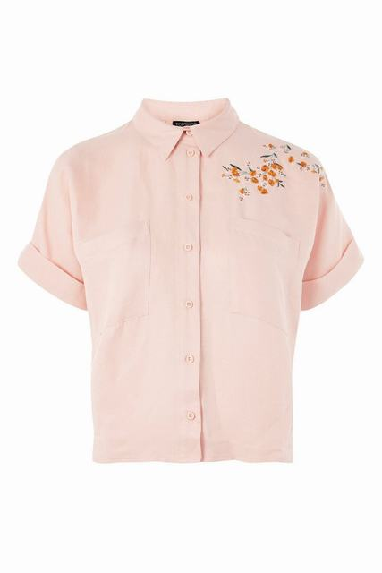 SL1261 Ex Chainstore Panther Embroidered Linen Blend Shirt x12