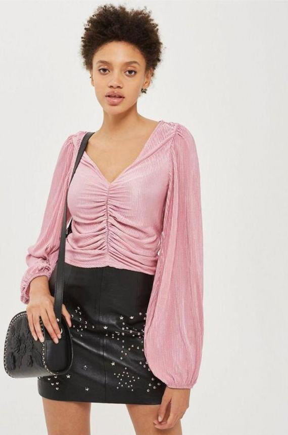 SL1598 Ex Chainstore Ruched Detail Pink Blouse x20