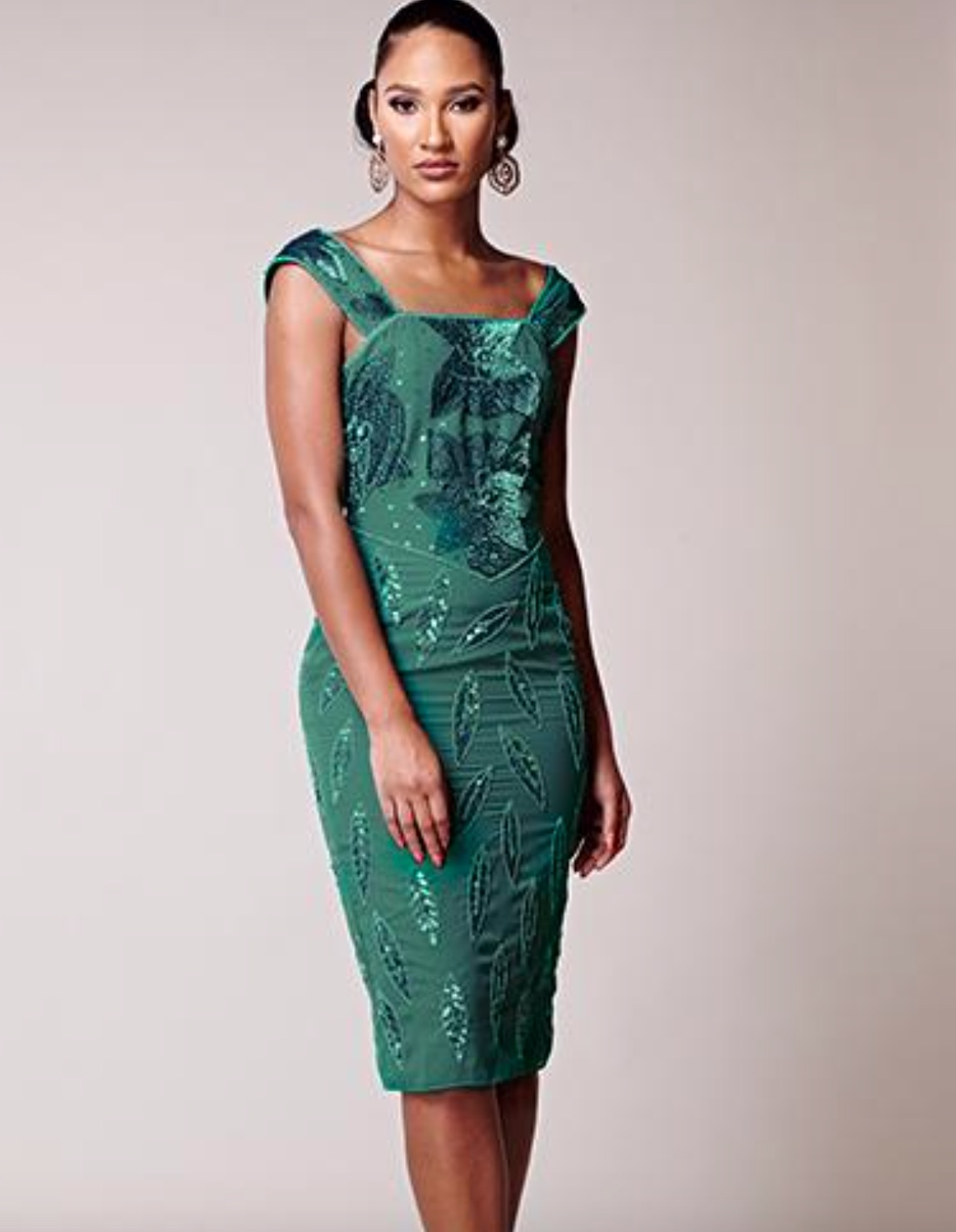 SL1631 Ex Chainstore Green Teal Embellished Midi Tea Dress x10