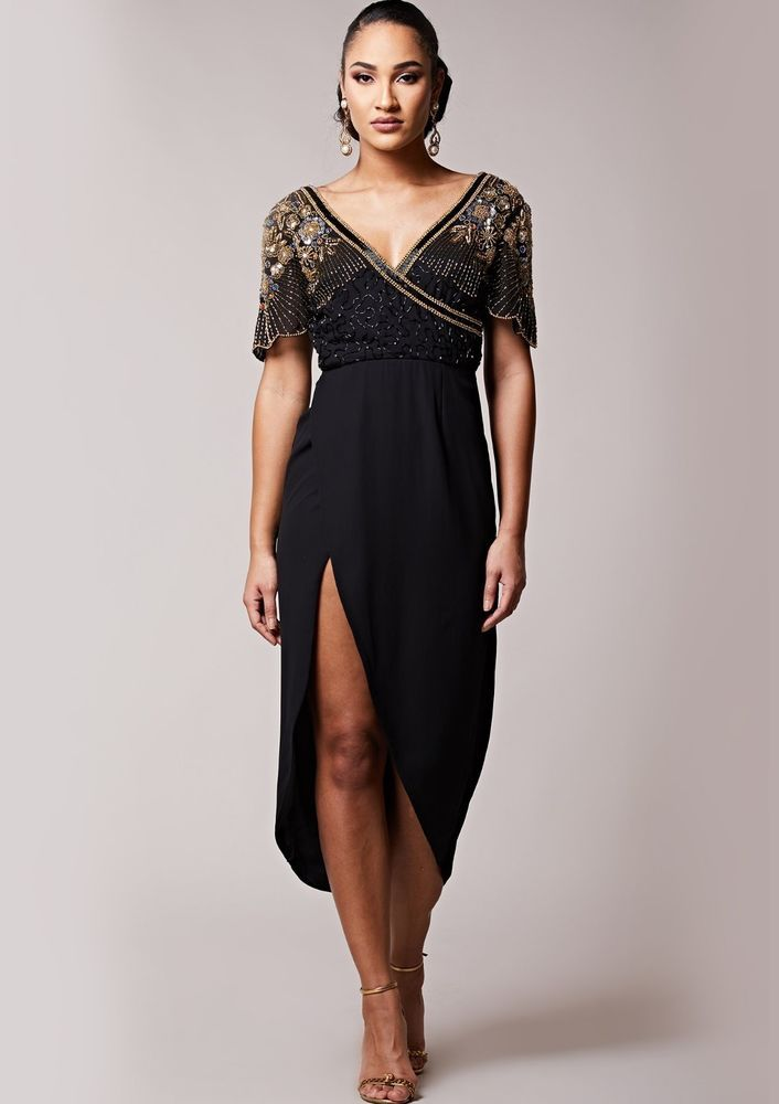 SL1625 Ex Chainstore Julisa Black Embellished Midi Dress x10