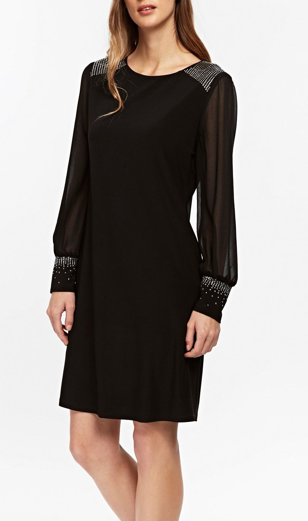 SL1448 Ex Chainstore Black Embellished Swing Dress x12