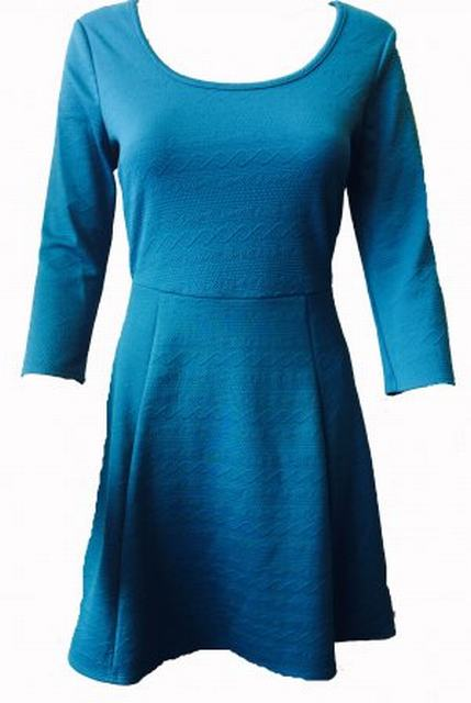 SL120 Ex UK Chainstore Teal Textured Skater Dress x14