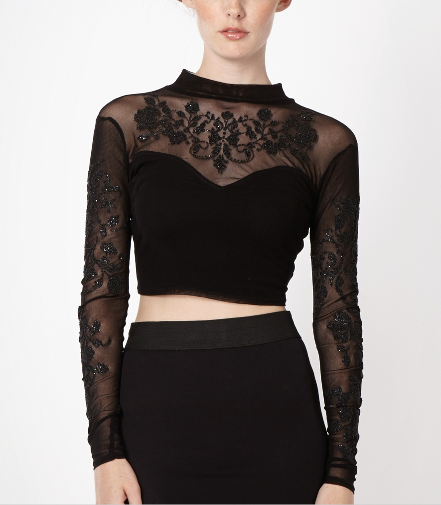 9SL295 Ex UK Chainstore Black Embellished Crop Top x9