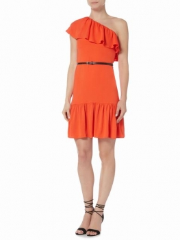 SL1018 Ex Chainstore One Shoulder Ruffle Dress - Tangerine x11