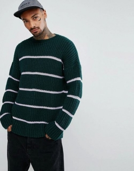 SM037 Ex UK Chainstore Green Textured Stripe Oversize Jumper x12