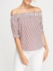 SL1163 Ex Chainstore Striped Off Shoulder Top x12