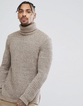 SM061 Ex Chainstore Roll Neck Fisherman Jumper - Oatmeal x6