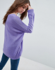 SL1342 Ex Chainstore Sheer Knit Jumper With V Neck - Purple x13