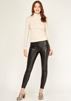 SL1512 Ex Chainstore High Waisted Faux Leather Leggings x9