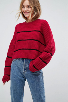 SL1538 Ex Chainstore Red Chunky Jumper Ladder Stitch x5