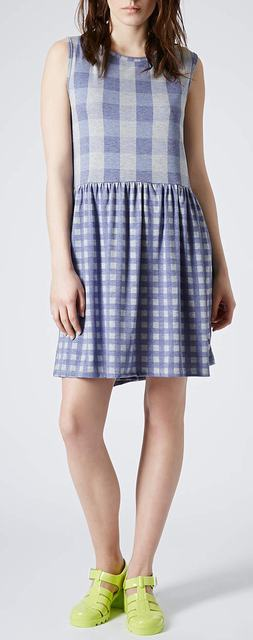 SL296 Ex UK Chainstore Blue Sleeveless Gingham Smock Dress x12