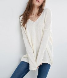 SL1019 Ex Chainstore Jumper In Sheer Knit With V Neck x11