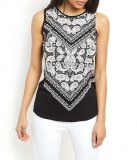 SL500 Ex UK Chainstore Black Paisley Print Tank Top x10