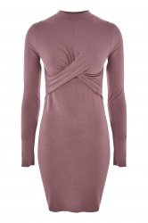 SL1012 Ex UK Chainstore Twist Front Bodycon Dress - Mauve x12