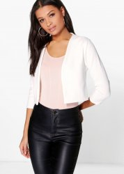 SL1186 Ex Chainstore Katie Crop Ponte Blazer in Cream x12