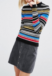 SL902 Ex UK Chainstore Stripe Jumper in Rib with High Neck x8