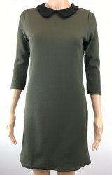 SL538 Ex UK Chainstore Rounded Collar Shift Dress - Khaki x10