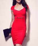 SL933 Ex UK Chainstore Red Sweetheart Chain Detail Dress x10