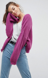 SL1068 Ex Chainstore Purple Chunky Cardi In Fluffy Rib x14