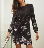 SL890 Ex UK Chainstore Floral Print Long Sleeve Shift Dress x8