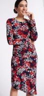 SL1172 Ex Chainstore Rose Red Mix Floral Bodycon Dress x13