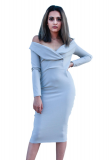 SL1205 Ex Chainstore Off Shoulder Mini Dress - Grey x14