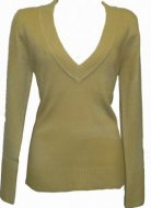 SL013 Ex UK chainstore V neck jumper Sand (x19)