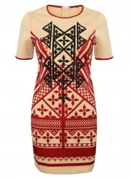 SL859 Ex UK Chainstore Embellished Aztec Print Bodycon Dress x12