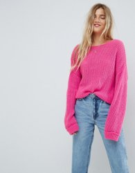 SL1075 Ex Chainstore Twist Back Chunky Jumper - Pink x15