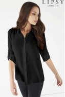SL1034 Ex Chainstore Black Button RollUp Sleeve Simple Shirt x10