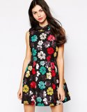 SL656 Ex UK Chainstore Floral Jacquard Mini Dress x13