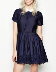 SL1004 Ex UK Chainstore Navy Collared Pintuck Dress x12