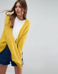 SL1066 Ex Chainstore Yellow Chunky Cardi In Fluffy Rib x14