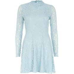 SL399 Ex UK Chainstore Lace Turtle Neck Skater Dress - Blue x14