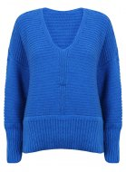 SL868 Ex UK Chainstore Oversized V Neck Fluffy Jumper Blue x8