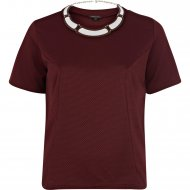 SL371 Ex UK Chainstore Textured Necklace Tshirt -Dark Purple x12