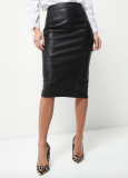 SL984 Ex UK Chainstore Black Snake Panel Midi Skirt x11