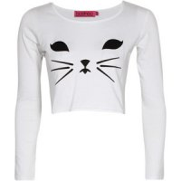 SL108 Ex UK Chainstore Long Sleeve Cat Crop Top - White x8