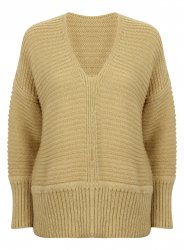 SL870 Ex UK Chainstore Oversized V Neck Fluffy Jumper Stone x12